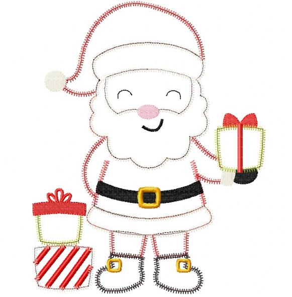 Santa 2 Sketch and Zigzag Stitch Applique