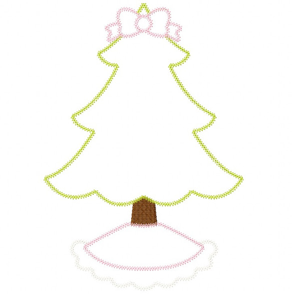 Frilly Christmas Tree Vintage and Chain Stitch Applique Machine Embroidery Design