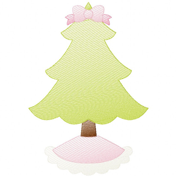 Frilly Christmas Tree Sketch and Zigzag Stitch Applique Machine Embroidery Design