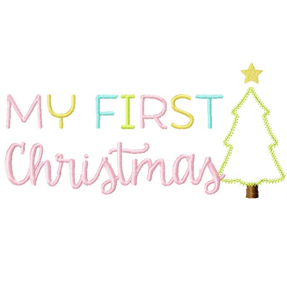 My First Christmas 2 Vintage and Chain Stitch Applique Machine Embroidery Design