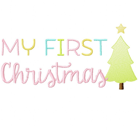 My First Christmas Sketch and Zigzag Stitch Applique Machine Embroidery Design