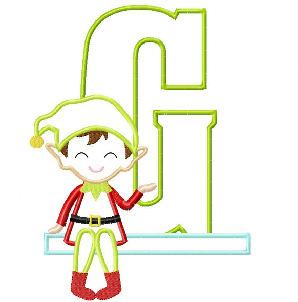 Boy Elf Applique Alpha Machine Embroidery Design