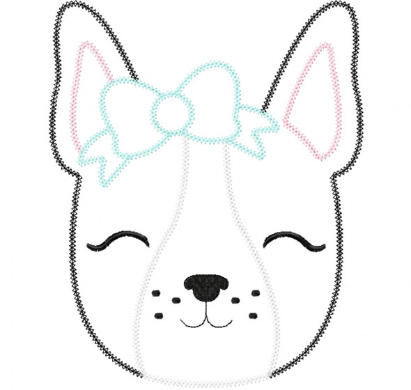 Frenchie Vintage and Chain Stitch Machine Embroidery Design