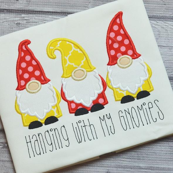 Gnomes Satin and ZigZag Stitch Machine Embroidery Design
