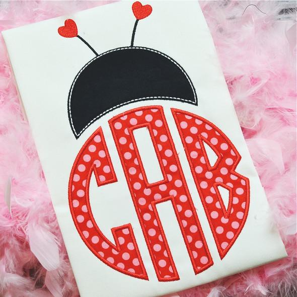 Ladybug Monogram Alphabet Machine Embroidery Design