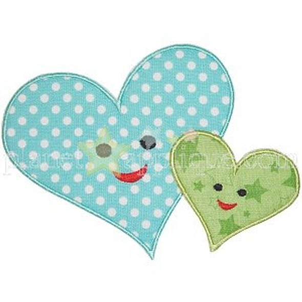 Mom and Baby Heart Applique Machine Embroidery Design