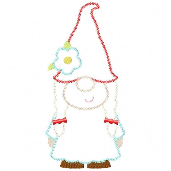 Girl Gnome Vintage and Chain Stitch Machine Embroidery Design