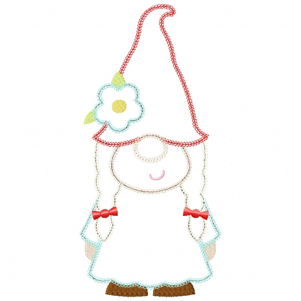 Girl Gnome Vintage and Chain Stitch