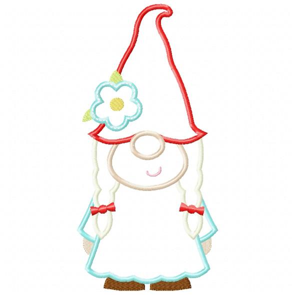 Girl Gnome Satin and ZigZag Stitch Machine Embroidery Design