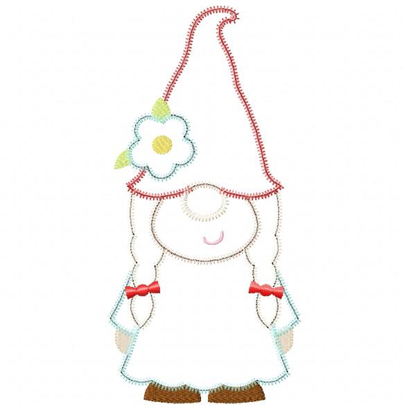 Girl Gnome Satin and ZigZag Stitch
