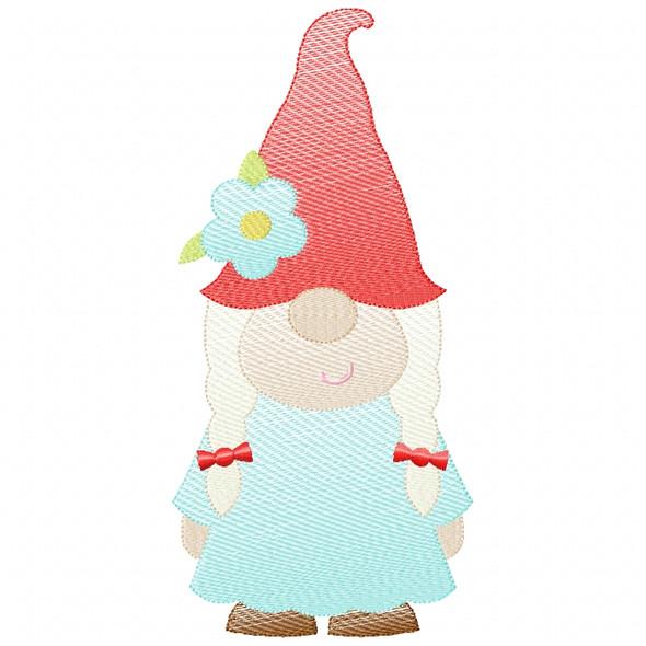 Girl Gnome Sketch Filled Stitch Machine Embroidery Design