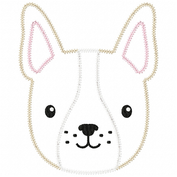 Boy Frenchie Vintage and Chain Stitch Machine Embroidery Design