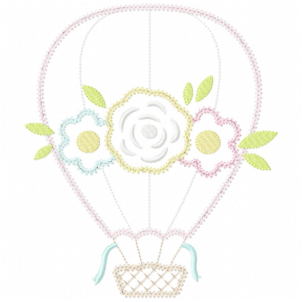 Floral Hot Air Balloon  Vintage and Chain Stitch Machine Embroidery Design