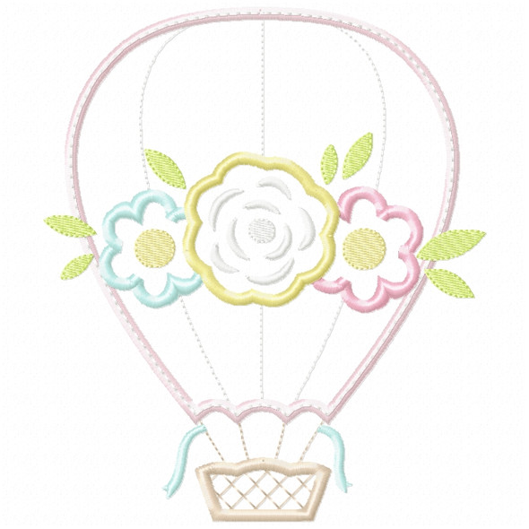 Floral Hot Air Balloon Satin and ZigZag Stitch