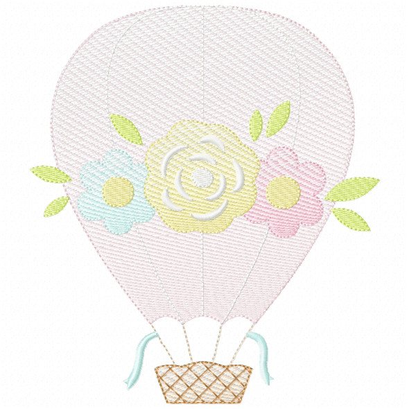 Floral Hot Air Balloon Sketch Filled Stitch Machine Embroidery Design