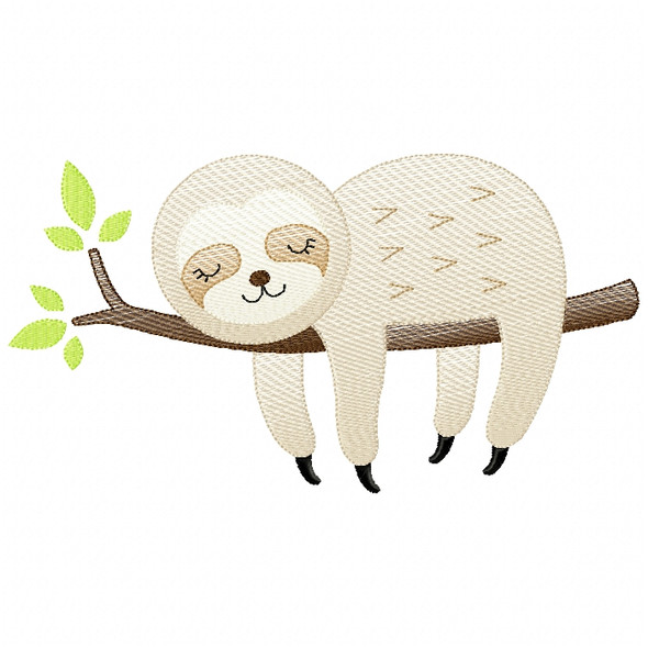 Sleeping Sloth Sketch Filled Stitch