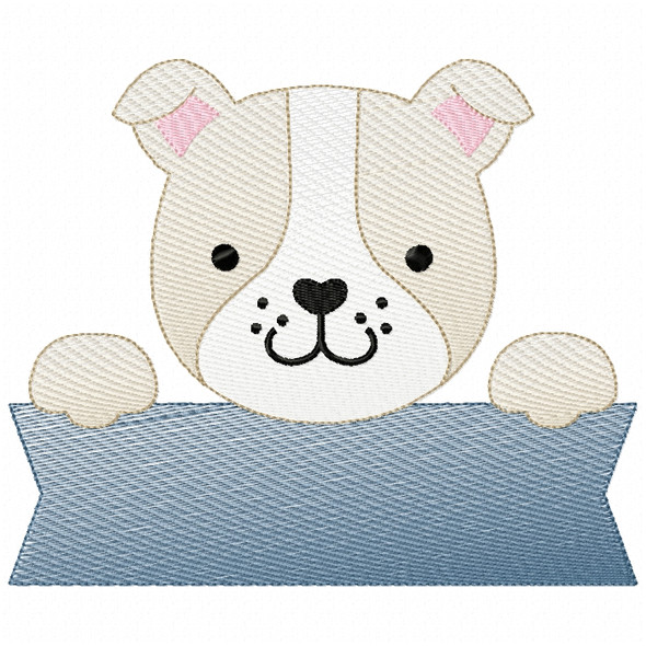 Bulldog Banner Sketch Filled Stitch Machine Embroidery Design