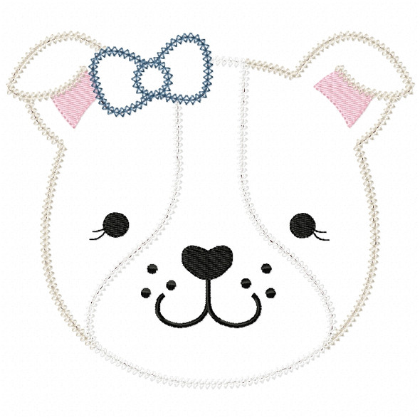 Girl Bulldog Face Vintage and Chain Stitch