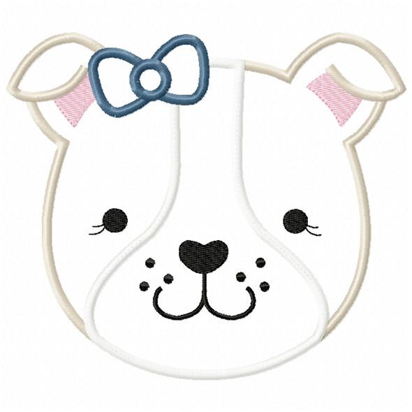 Girl Bulldog Face Satin and ZigZag Stitch