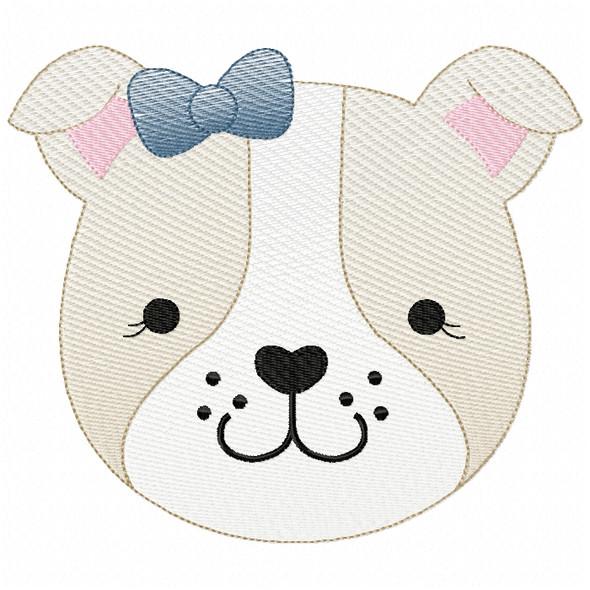 Girl Bulldog Face Sketch Filled Stitch Machine Embroidery Design
