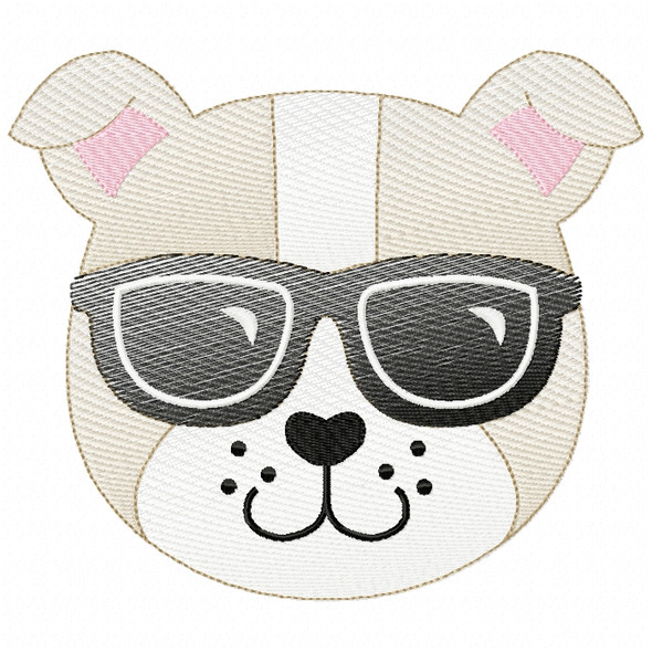Cool Bulldog Sketch Filled Stitch