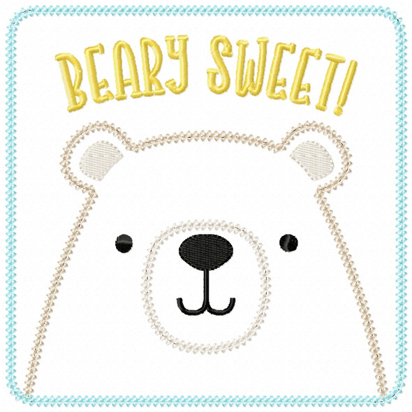 Beary Sweet Patch Vintage and Chain Stitch Machine Embroidery Design