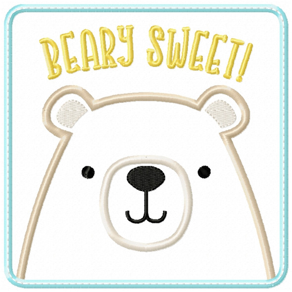 Beary Sweet Patch Satin and ZigZag Stitch Machine Embroidery Design
