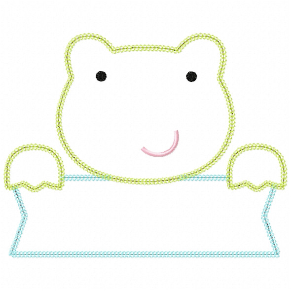 Frog Banner Vintage and Chain Stitch