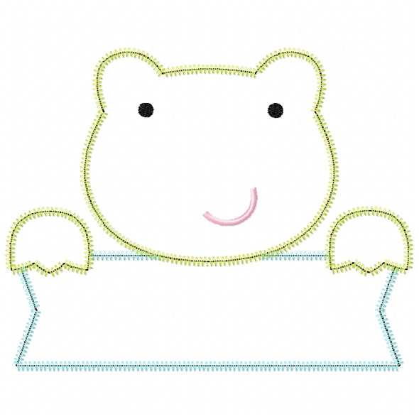 Frog Banner Satin and ZigZag Stitch