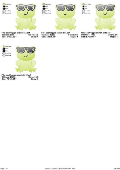 Cool Frog Sketch Filled Stitch