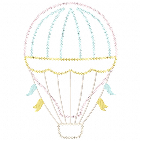 Hot Air Balloon 2 Vintage and Chain Stitch Machine Embroidery Design