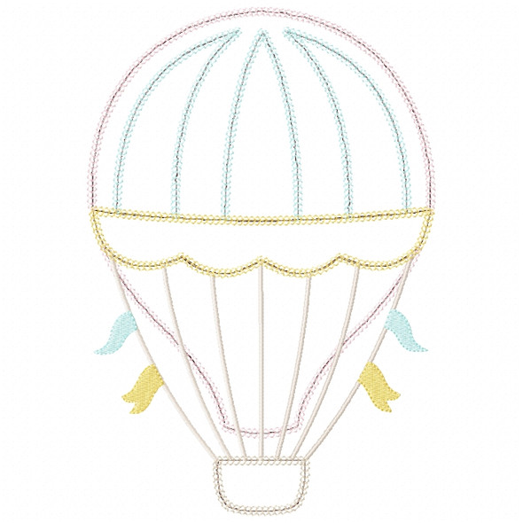 Hot Air Balloon 2 Vintage and Chain Stitch