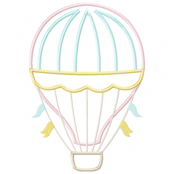 Hot Air Balloon 2 Satin and ZigZag Stitch Machine Embroidery Design