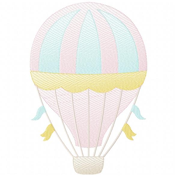 Hot Air Balloon 2 Sketch Filled Stitch