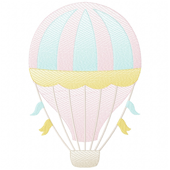 Hot Air Balloon 2 Sketch Filled Stitch Machine Embroidery Design