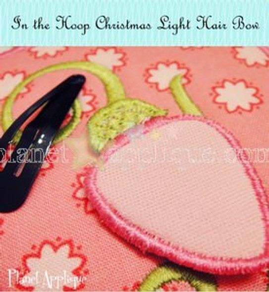 In the Hoop Christmas Light Hair Bows Machine Embroidery Design