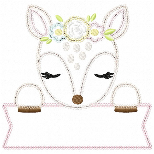 Sweet Fawn Banner Vintage and Chain Stitch