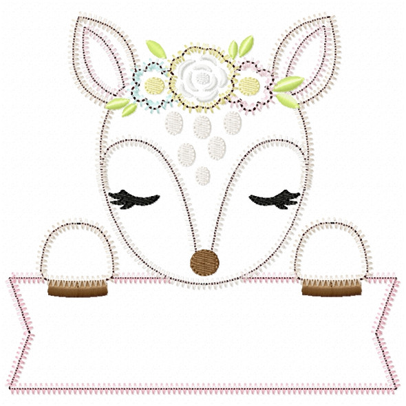 Sweet Fawn Banner Satin and ZigZag Stitch