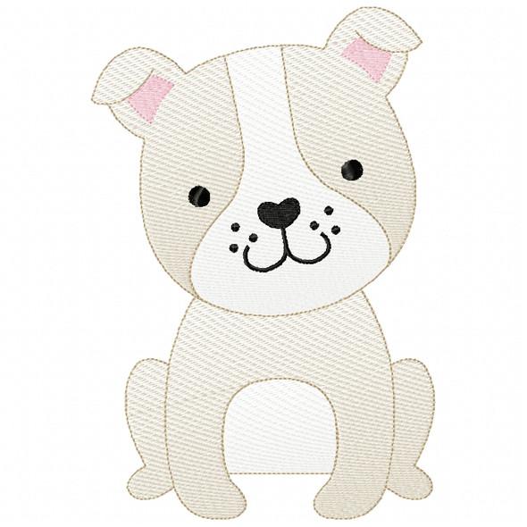Bulldog Puppy Sketch Filled Stitch