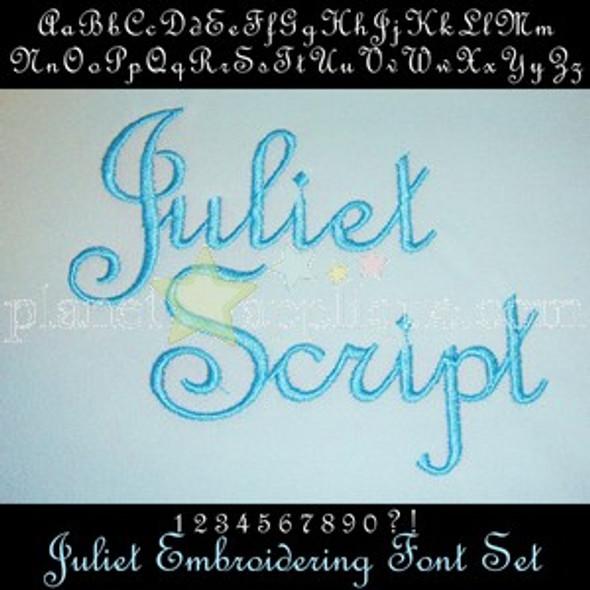 Juliet Lettering Monogram Font Machine Embroidery Design