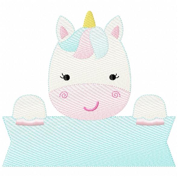 Unicorn Banner Sketch Filled Stitch Machine Embroidery Design
