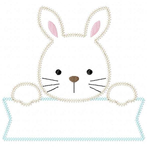 Bunny Banner Vintage and Chain Stitch Machine Embroidery Design