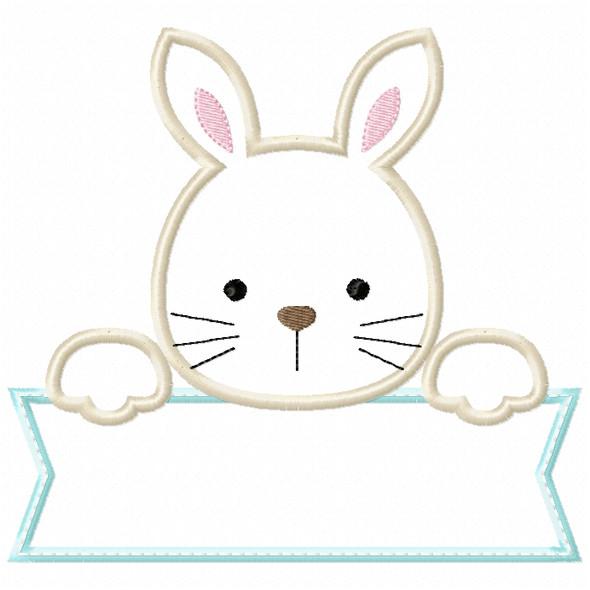 Bunny Banner Satin and ZigZag Stitch Machine Embroidery Design