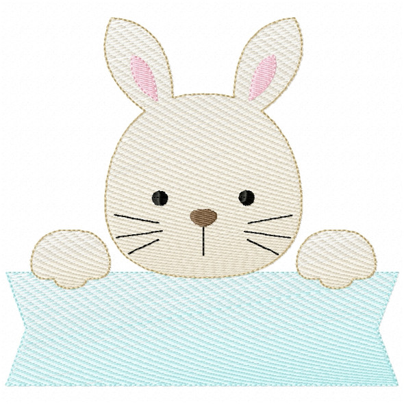Bunny Banner Sketch Filled Stitch Machine Embroidery Design