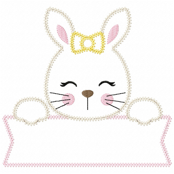 Girl Bunny Banner Vintage and Chain Stitch Machine Embroidery Design