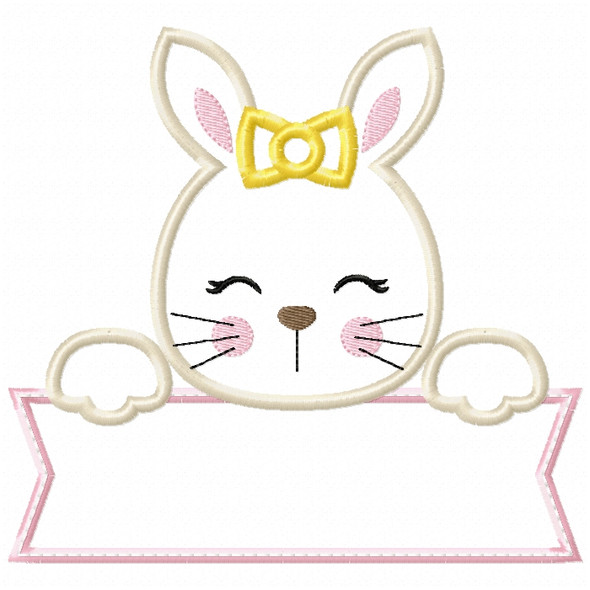 Girl Bunny Banner Satin and ZigZag Stitch Machine Embroidery Design