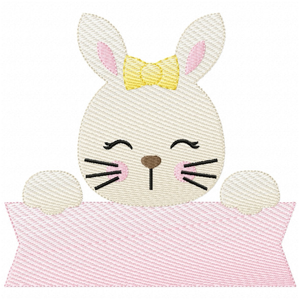 Girly Bunny Banner Sketch Filled Stitch Machine Embroidery Design