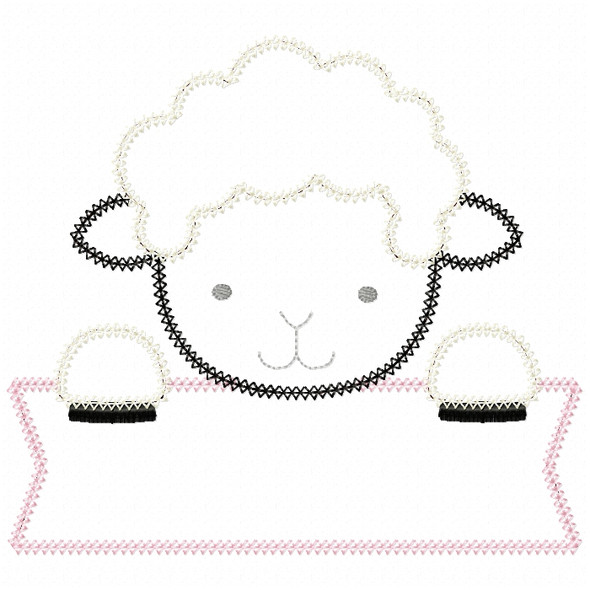 Lamb Banner Vintage and Chain Stitch Machine Embroidery Design