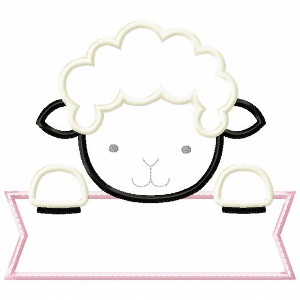 Lamb Banner Satin and ZigZag Stitch Machine Embroidery Design