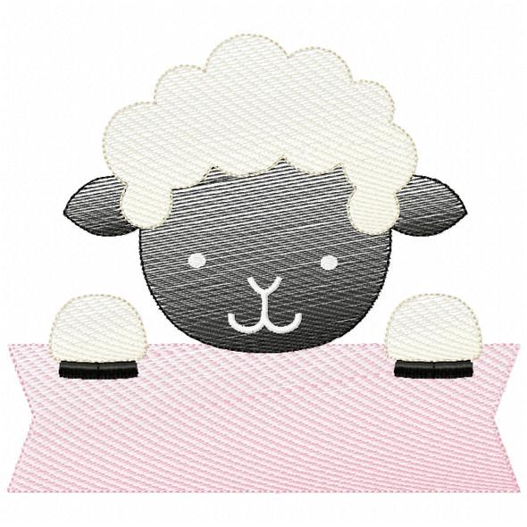 Lamb Banner Sketch Filled Stitch Machine Embroidery Design